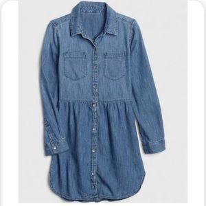 Gap Girls Denim Shirt Dress Size Small Long Sleeve